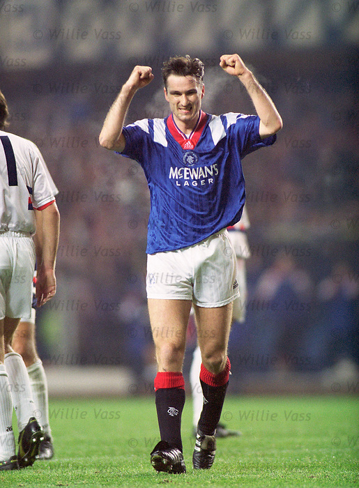 Ian Ferguson celebrates scoring for Rangers