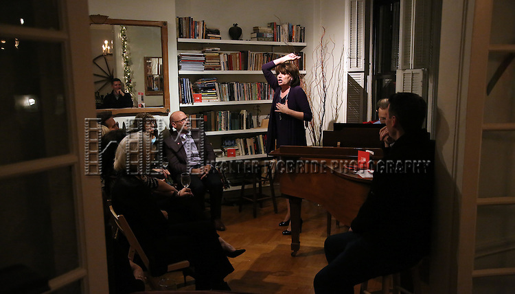 Beth Leavel and Chad Beguelin attends the Dramatists Guild Fund Salon with Matthew Sklar and Chad Beguelin at the home of Gretchen Cryer on December 8, 2016 in New York City.