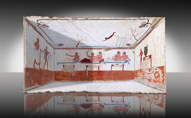 """Reconstruction of  the inside of the Greek Tomb of  the Diver  [La Tomba del Truffatore] from the Greek city of Poseidonia which became Roman Paestum. .   The rear panel is from one of the long sides of the tomb and shows a symposium of men lying on couches facing low tables on which goblets have been placed.  The abondon experienced at the Synposium was one way in which the dead could access the next world .  The fresco on the lid of the tomb and shows a  diving from a column into water. The column represents the border of thye known world and therefore the limit of man's knowledge.  The dive represents the passage form this world to the next. The tomb is painted with the true fresco technique and its importance lies in being """"the only example of Greek painting with figured scenes dating from the Orientalizing, Archaic, or Classical periods to survive in its entirety. Paestrum, Andriuolo.  (480-470 BC  )"""
