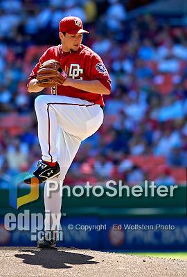 23 September 2007: Washington Nationals starting pitcher Joel Hanrahan in action against the Philadelphia Phillies at Robert F. Kennedy Memorial Stadium in Washington, DC. The Nationals defeated the Phillies 5-3 in the historic last professional baseball game played at RFK Stadium.. .Mandatory Photo Credit: Ed Wolfstein Photo