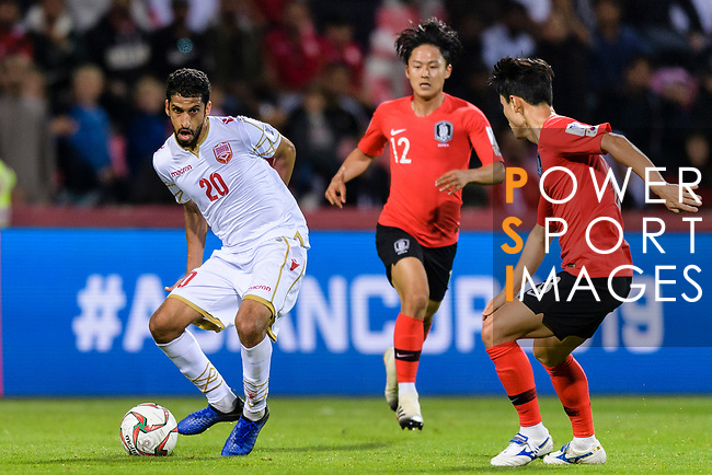 Sami Mohamed Alhusaini of Bahrain (L) in action during the AFC Asian Cup UAE 2019 Round of 16 match between South Korea (KOR) and Bahrain (BHR) at Rashid Stadium on 22 January 2019 in Dubai, United Arab Emirates. Photo by Marcio Rodrigo Machado / Power Sport Images