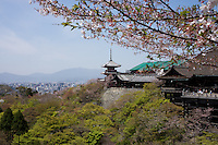 view on Kyoto and Kiyomizu-Dera temple , Japan in spring