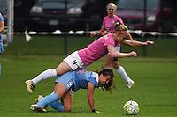 Kansas City, MO - Friday May 13, 2016: FC Kansas City defender Becky Sauerbrunn (4) against Chicago Red Stars midfielder Danielle Colaprico (24) during a regular season National Women's Soccer League (NWSL) match at Swope Soccer Village.