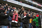 14.01.2018, RheinEnergieStadion, Koeln, GER, 1.FBL., 1. FC K&ouml;ln vs. Borussia M&ouml;nchengladbach<br /> <br /> im Bild / picture shows: <br /> Jubel nach dem 1:0 f&uuml;r K&ouml;ln auf der Trib&uuml;hne <br /> <br /> <br /> Foto &copy; nordphoto / Meuter