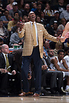 Wake Forest Demon Deacons head coach Danny Manning reacts to a call during second half action against the Notre Dame Fighting Irish at the LJVM Coliseum on February 24, 2018 in Winston-Salem, North Carolina. The Fighting Irish defeated the Demon Deacons 76-71.  (Brian Westerholt/Sports On Film)