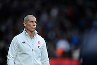 Stuart Lancaster, England Team Manager looks apprehensive before the kick off