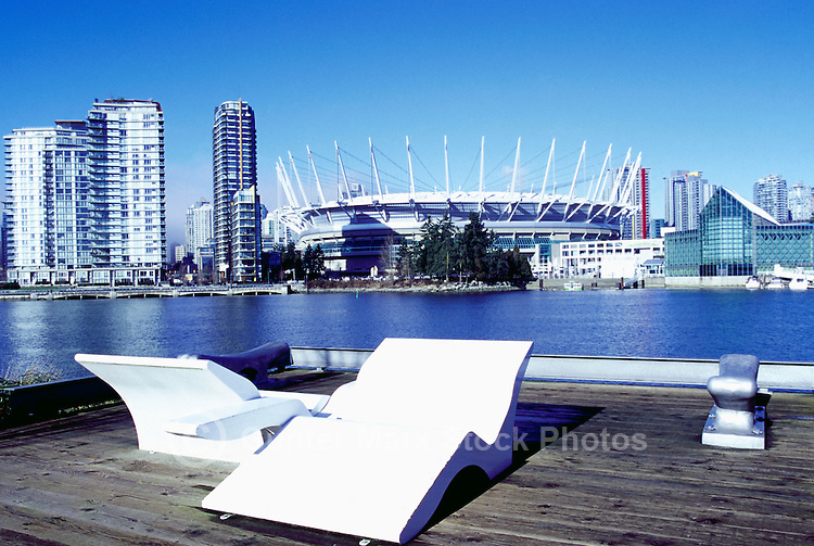 Vancouver Skyline, BC, British Columbia, Canada - BC Place Stadium (New Retractable Roof completed in 2011), Edgewater Casino, and Residential High Rise Condominium Buildings at False Creek