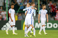 England players hug at the final whistle after England Under-21 vs Poland Under-21, UEFA European Under-21 Championship Football at The Kolporter Arena on 22nd June 2017