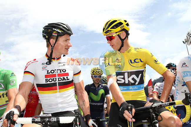 Race leader Yellow Jersey Christopher Froome (GBR) Team Sky chats with German National Champion Andre Greipel (GER) Lotto-Soudal before the start of Stage 20 of the 2016 Tour de France running 146.5km from Meg&egrave;ve to Morzine-Avoriaz, France. 23rd July 2016.<br /> Picture: ASO/O.Chabe| Newsfile<br /> <br /> <br /> All photos usage must carry mandatory copyright credit (&copy; Newsfile | ASO/O.Chabe)