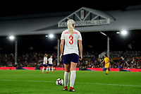 Alex Greenwood of England lines up a free kick during the Women's International friendly match between England Women and Australia at Ashton Gate, Bristol, England on 9 October 2018. Photo by Bradley Collyer / PRiME Media Images.