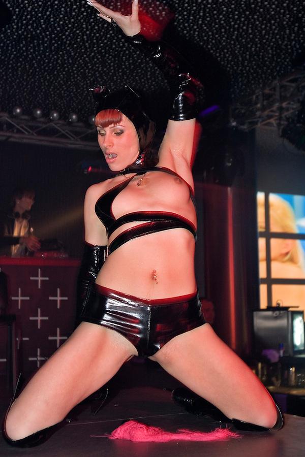Kaliningrad, Russia, 05/05/2007..Striptease at the Platinum nightclub's Marquis de Sade birthday theme night.