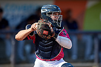 Pensacola Blue Wahoos catcher Ben Rortvedt (1) throws down to second base during a Southern League game against the Mobile BayBears on July 25, 2019 at Hank Aaron Stadium in Pensacola, Florida.  Pensacola defeated Mobile 2-1 in the first game of a doubleheader.  (Mike Janes/Four Seam Images)