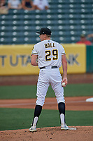 Salt Lake Bees starting pitcher Matt Ball (29) looks to the plate against the New Orleans Baby Cakes at Smith's Ballpark on August 4, 2019 in Salt Lake City, Utah. The Baby Cakes defeated the Bees 8-2. (Stephen Smith/Four Seam Images)