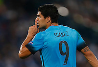 Barcellona's Luis Suarez reacts during the Champions League Group E soccer match against AS Roma   at the Olympic Stadium in Rome September 16, 2015