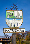 Town sign for Saxmundham, Suffolk, England
