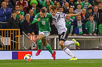 Joshua Kimmich (Deutschland Germany) gegen Gavin Whyte (Nordirland, Northern Ireland) - 09.09.2019: Nordirland vs. Deutschland, Windsor Park Belfast, EM-Qualifikation DISCLAIMER: DFB regulations prohibit any use of photographs as image sequences and/or quasi-video.