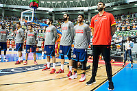Spain's basketball team during the first match of the preparation for the Rio Olympic Game at Coliseum Burgos. July 12, 2016. (ALTERPHOTOS/BorjaB.Hojas)