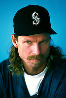 Randy Johnson of the Seattle Mariners during a game at Dodger Stadium in Los Angeles, California during the 1997 season.(Larry Goren/Four Seam Images)