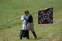 NWA Democrat-Gazette/ANDY SHUPE<br /> Re-enactors participate Saturday, Sept. 26, 2015, in a re-enactment of the Civil War Battle of Pea Ridge in Pea Ridge. Visit nwadg.com/photos to see more from the weekend.