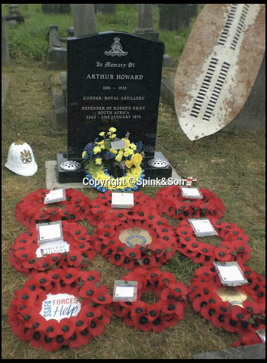 BNPS.co.uk (01202 558833)<br /> Pic:   Spink&Son/BNPS<br /> <br /> Arthur Howard's grave at Brockley cemetery in Lewisham.<br /> <br /> The bravery medals awarded to one of the heroes of Rorke's Drift have emerged for sale for £50,000.<br /> <br /> Gunner Arthur Howard was part of the 150-strong British garrison which defied all odds to successfully defend the Rorke's Drift mission station from 4,000 marauding Zulu warriors in 1879.<br /> <br /> For 12 hours the British repelled the spear-carrying tribesmen with accurate shooting and brutal hand-to-hand combat. The Zulus retreated with 350 of their number killed compared to 17 British.<br /> <br /> The rearguard was immortalised in the epic 1964 war film Zulu, starring Stanley Baker and a young Michael Caine.