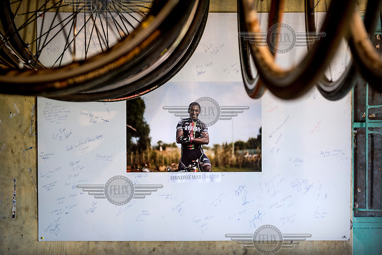 A picture of John Njoroge, in tribute to the cyclist who died in an accident during a race in 2014, at the The Kenyan Riders, a Kenyan cycling team, training camp.