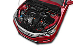 Car Stock 2016 Honda Accord Sport 4 Door Sedan Engine high angle detail view