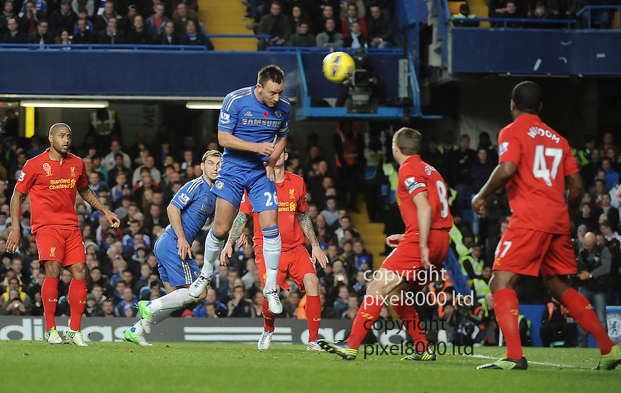 Captain John Terry of Chelsea scores and celebrates a goal during the Barclays Premier League match between Chelsea and Liverpool at Stanford Bridge on Sunday November 11, 2012 in London, England Picture Zed Jameson/pixel 8000 ltd.