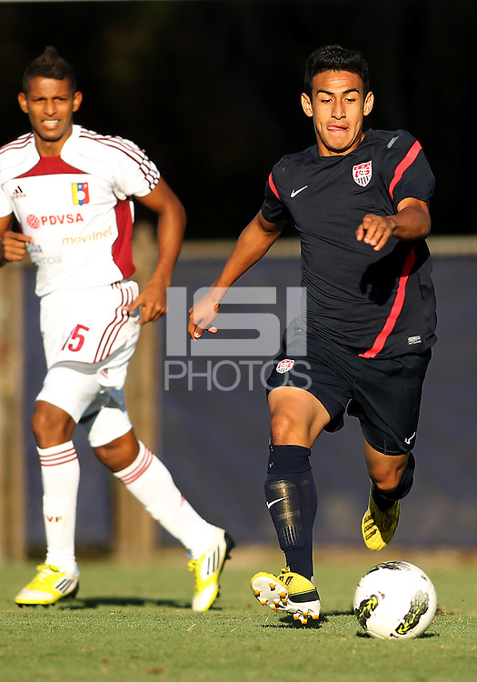 MIAMI, FL - DECEMBER 21, 2012:  Jose Villarreal of the USA MNT U20 during a closed scrimmage with the Venezuela U20 team, on Friday, December 21, 2012, At the FIU soccer field in Miami.  USA won 4-0.
