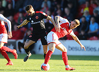Fleetwood Town&rsquo;s Conor McAleny and Walsall Florent Cuvelier <br /> <br /> Photographer Leila Coker/CameraSport<br /> <br /> The EFL Sky Bet League One - Fleetwood Town v Walsall - Saturday 5th May 2018 - Highbury Stadium - Fleetwood<br /> <br /> World Copyright &copy; 2018 CameraSport. All rights reserved. 43 Linden Ave. Countesthorpe. Leicester. England. LE8 5PG - Tel: +44 (0) 116 277 4147 - admin@camerasport.com - www.camerasport.com