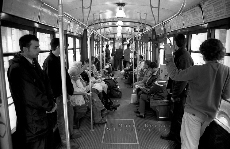 milano, interno di un tram a carrelli tipo 1928 --- milan, interior of a trolley car type 1928