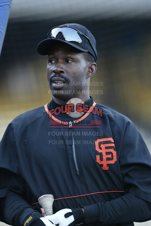 Shawon Dunston of the San Francisco Giants before a 2002 MLB season game against the Los Angeles Dodgers at Dodger Stadium, in Los Angeles, California. (Larry Goren/Four Seam Images)