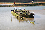 Abandoned sunk old wooden boat on sandbank in the River Deben at Melton, Suffolk, England
