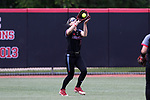 RALEIGH, NC - MAY 07: Louisville's Morgan Meyer catches the ball. The North Carolina State University Wolfpack hosted the University of Louisville Cardinals on May 7, 2017, at Dail Softball Stadium in Raleigh, NC in a Division I College Softball game. Louisville won the game 7-0.