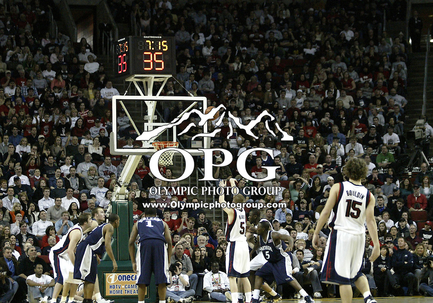 "30 December 2005:  Gonzaga Bulldogs #5 Derek Raivio shoots a free throw against the Nevada Wolf Pack at Key Arena in the fourth annual ""Battle of Seattle"" Seattle, WA. Nevada won 82-74 over the Gonzaga Bulldogs."
