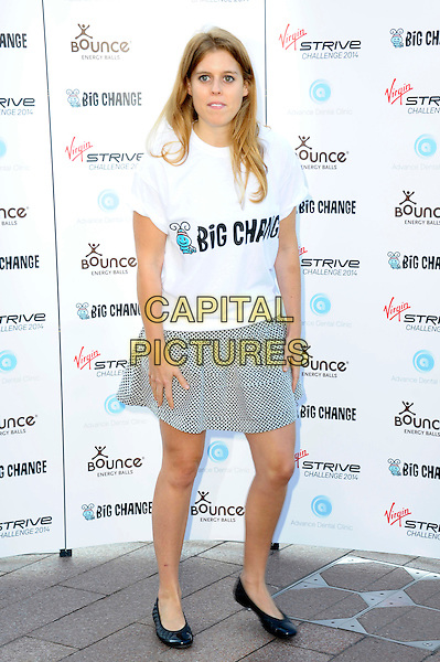 LONDON, ENGLAND - AUGUST 07: Princess Beatrice of York attends a photocall as the Virgin STRIVE challenge sets off at 02 Arena on August 7, 2014 in London, England. <br /> CAP/CJ<br /> &copy;Chris Joseph/Capital Pictures