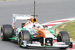 19.02.2013 Montmelo, Barcelona, Spain. Pre-seasson testing day 1. Picture show Paul di Resta driving VJM06 at Circuit de Catalunya