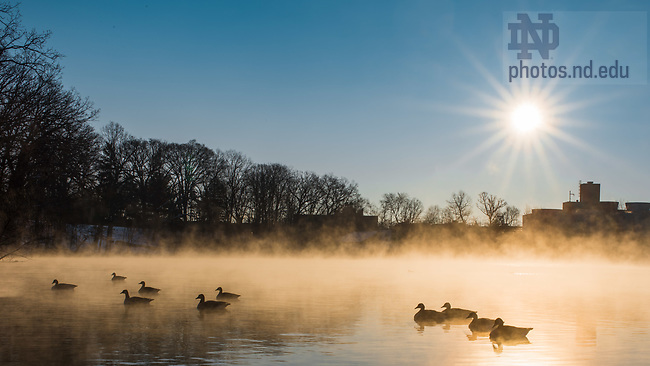 March 14, 2017; Sunrise over St. Joseph Lake (Photo by Matt Cashore/University of Notre Dame)