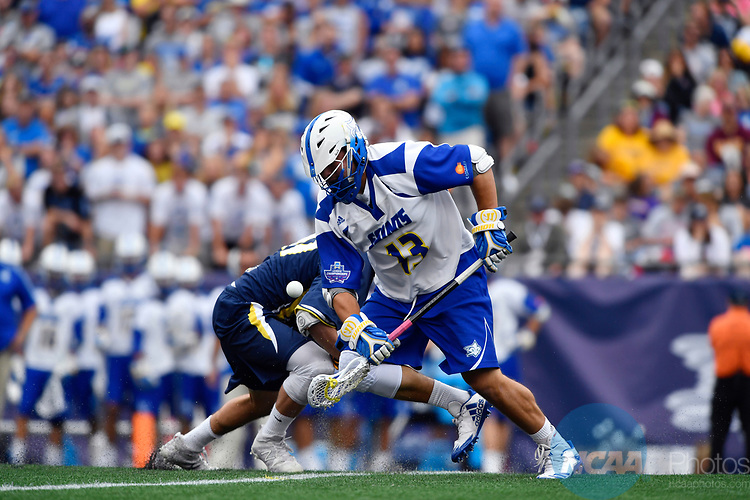 FOXBORO, MA - MAY 28: Kevin Reisman (13) of the Limestone Saints with the ball during the Division II Men's Lacrosse Championship held at Gillette Stadium on May 28, 2017 in Foxboro, Massachusetts. (Photo by Larry French/NCAA Photos via Getty Images)