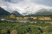 Franz Josef Glacier township under Southern Alps in winter, Westland National Park, West Coast, New Zealand
