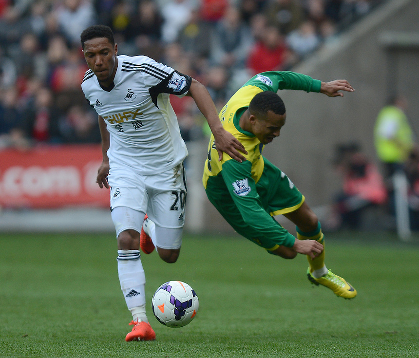 Norwich City's Martin Olsson is brought down by Swansea City's Jonathan de Guzman<br /> <br /> Photo by Ian Cook/CameraSport<br /> <br /> Football - Barclays Premiership - Swansea City v Norwich City - Saturday 29th March 2014 - The Liberty Stadium - Swansea<br /> <br /> &copy; CameraSport - 43 Linden Ave. Countesthorpe. Leicester. England. LE8 5PG - Tel: +44 (0) 116 277 4147 - admin@camerasport.com - www.camerasport.com