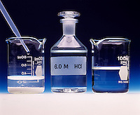 SOLUBILITY OF CALCIUM OXALATE AFFECTED BY pH<br /> Calcium Oxalate Precipitate &amp; Hydrochloric Acid<br /> Left: Precipitate of calcium oxalate begins to clear from solution by addition of 6M HCl(aq). Right: Solution is completely cleared of precipitate demonstrating the increase in solubility of CaC2O4(s) as the pH of the solution is lowered.