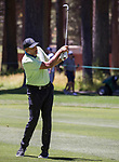 Dell Curry swings during the ACC Golf Tournament at Edgewood Tahoe Golf Course in South Lake Tahoe on Sunday, July 14, 2019.