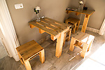 Hotel bar furniture made from wooden pallets, Jerez de la Frontera, Spain