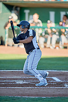 Javier Guevara (6) of the Grand Junction Rockies bats against the Ogden Raptors at Lindquist Field on June 25, 2018 in Ogden, Utah. The Raptors defeated the Rockies 5-3. (Stephen Smith/Four Seam Images)