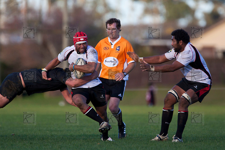 New referee Glen Jackson watches as Siale Piutau makes a run through the midfield. Counties Manukau Steelers pre season ITM Cup game against a Bay of Plenty Wasps selection, played at Moore Park Katikati, on July 7th 2010.