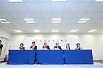 (L-R) Izumi Hayashi, Takeshi Natsuno, Toshiro Muto, Ryohei Miyata, Ai Sugiyama, <br /> Aki Taguchi, April 8, 2016 : <br /> The Tokyo 2020 Emblems Selection Committee unveiled Shortlisted Emblem designs in Tokyo, Japan. (Photo by Yohei Osada/AFLO SPORT)