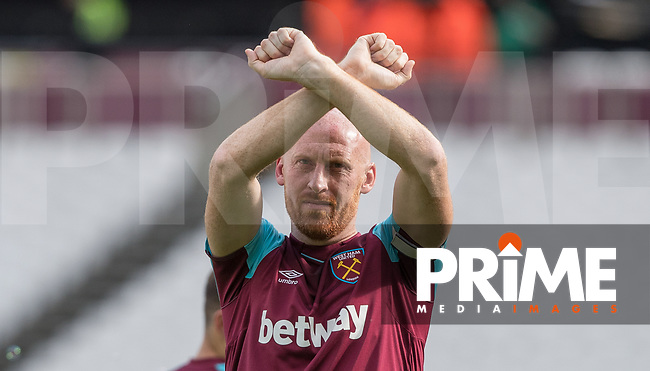 James Collins of West Ham at full time during the Premier League match between West Ham United and Everton at the Olympic Park, London, England on 13 May 2018. Photo by Andy Rowland / PRiME Media Images.