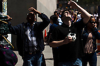 People try to watch the World Trade Center spire while it has reached 1,776 feet, what makes it, the tallest building in the Western Hemisphere in New York,  May 10, 2013, Photo by Eduardo Munoz Alvarez / VIEWpress.