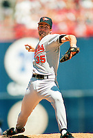 Mike Mussina of the Baltimore Orioles during a 1995 season game at Anaheim Stadium in Anaheim,California.(Larry Goren/Four Seam Images)