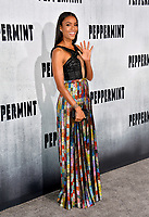 "LOS ANGELES, CA. August 28, 2018: Annie Ilonzeh at the world premiere of ""Peppermint"" at the Regal LA Live."